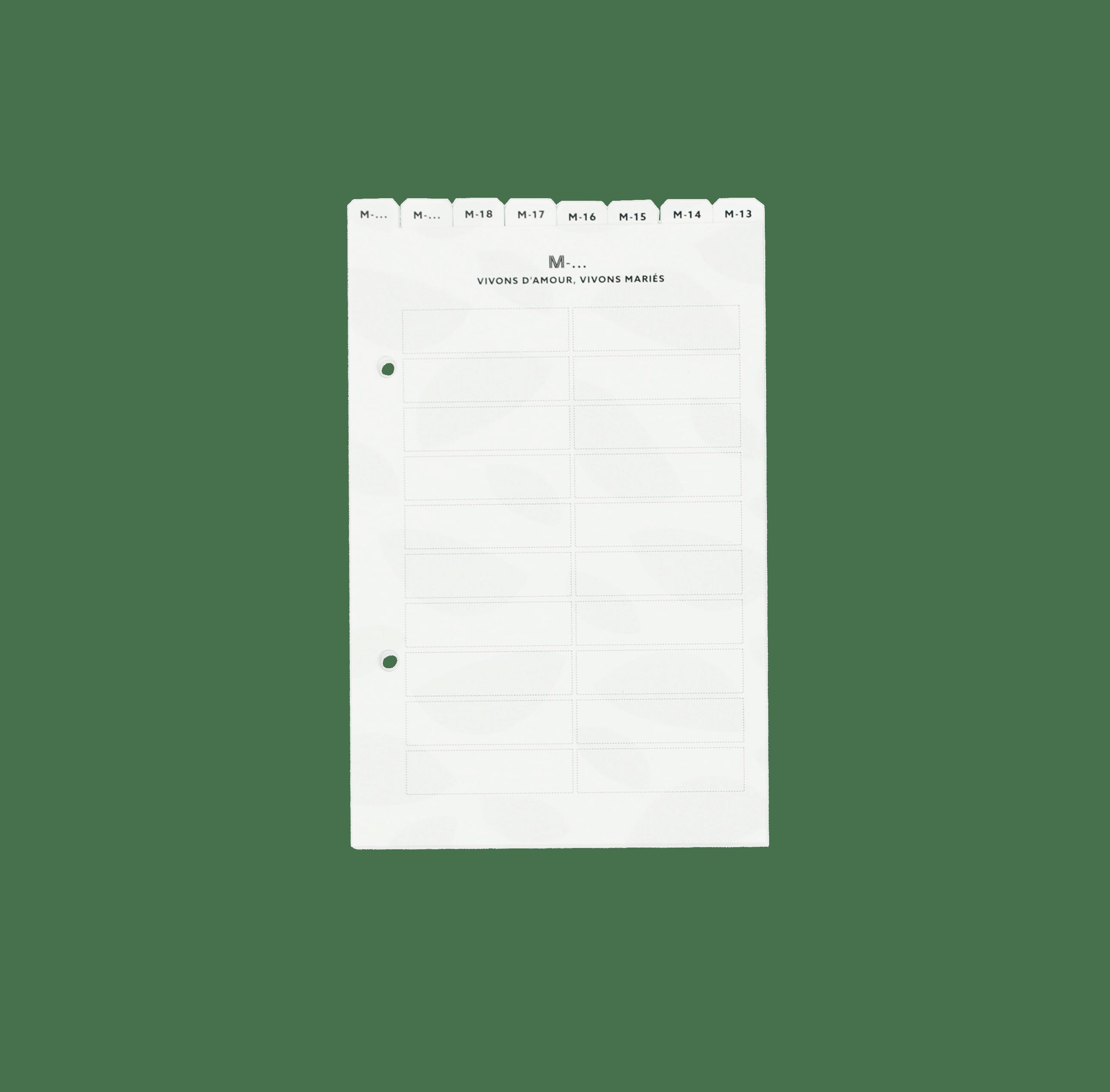 intercalaires agenda mariage
